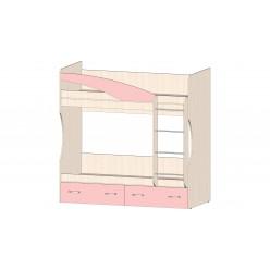 Детская Буратино Кровать 2х ярусная розовый