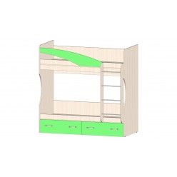 Детская Буратино Кровать 2х ярусная зеленый