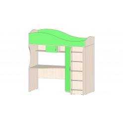 Детская Буратино Кровать-чердак зелёный