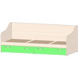 Детская Буратино Кровать с ящиками зелёный